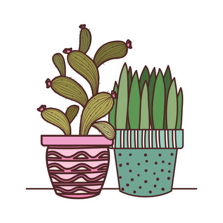 cactus with potted isolated icon vector illustration design Stock Illustratie