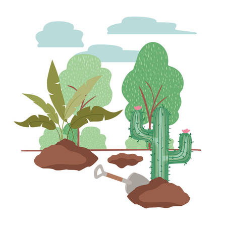cactus and tree to plant in landscape vector illustration design