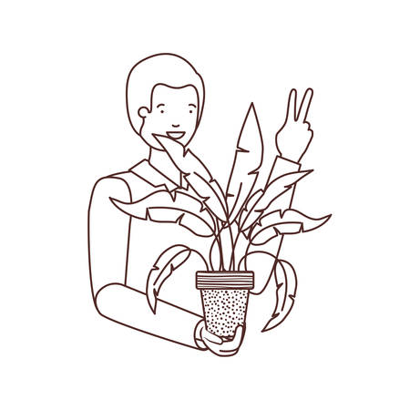 man with houseplant avatar character vector illustration design