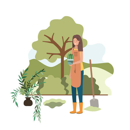 woman with tree to plant in landscape vector illustration design
