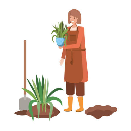 woman with tree to plant avatar character vector illustration design