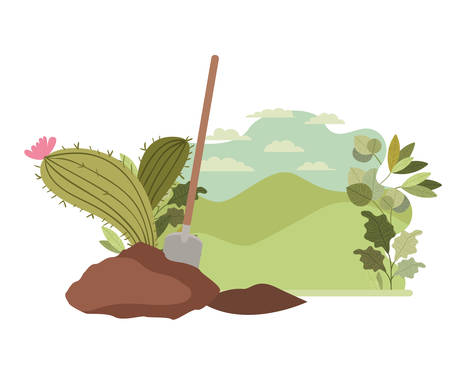 cactus to plant in landscape isolated icon vector illustration design