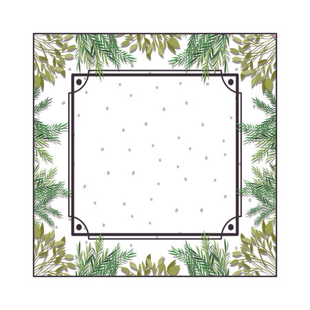 frame with foliage isolated icon vector illustration design