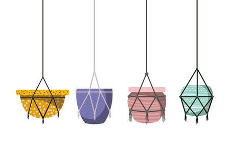 flower pots in macrame hangers icon vector illustration design