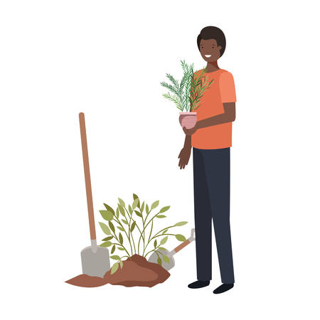 man with tree to plant avatar character vector illustration design  イラスト・ベクター素材