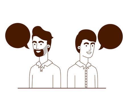 men with speech bubble avatar character vector illustration design Stock Illustratie