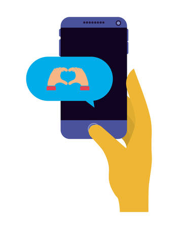 hand with smartphone and speech bubble vector illustration design
