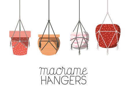 set of macrame pots hangers vector illustration design