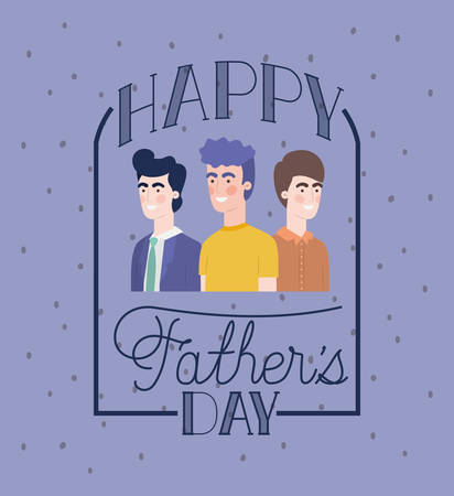 happy fathers day card with dads characters vector illustration design