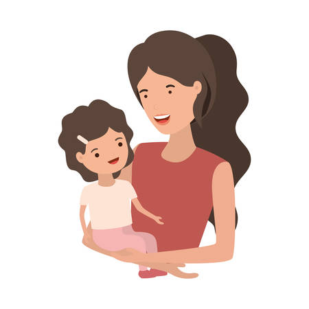 woman with baby avatar character vector illustration design Illustration