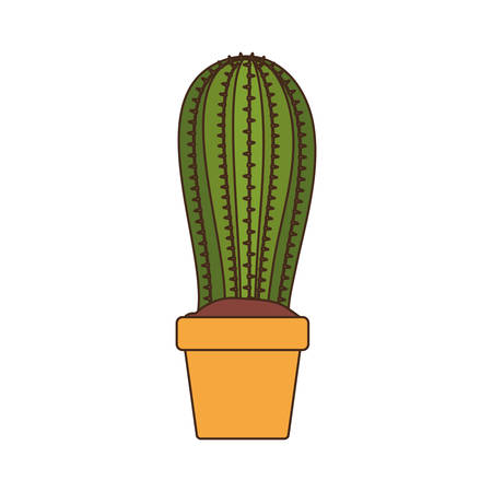 cute cactus with pot isolated icon vector illustration design