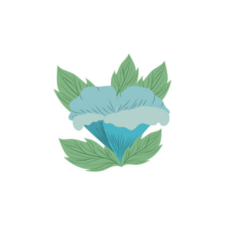 beautiful flowers with leafs isolated icon vector illustration design