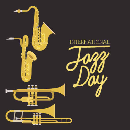 jazz day poster with air instruments vector illustration design Illustration
