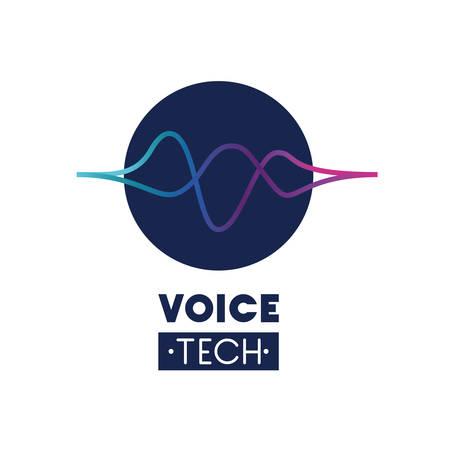 voice tech label met geluidsgolf vector illustratie ontwerp