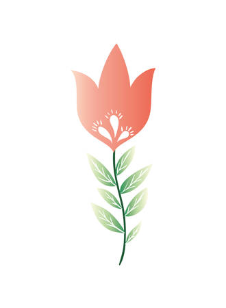 flower with leafs isolated icon vector illustration design
