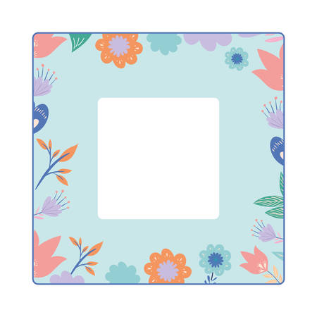 frame with flowers and leafs icon vector illustration design Ilustracja