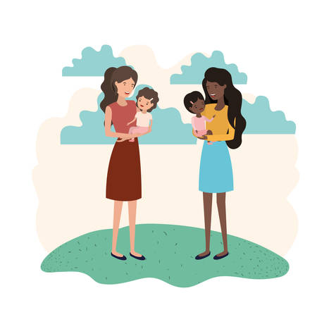 women with children avatar character vector illustration design Ilustração