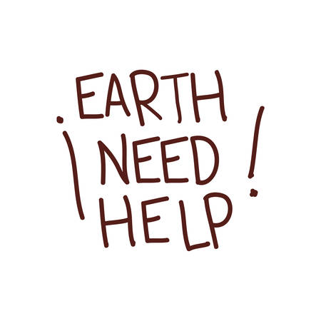 earth need help label icon vector illustration design Illustration