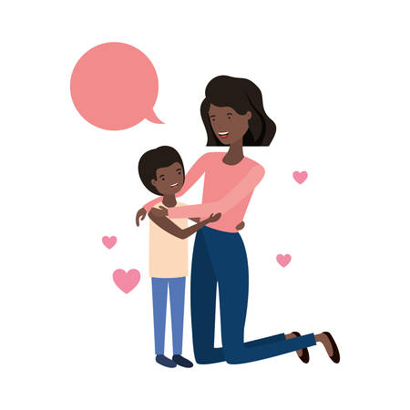 woman with son and speech bubble avatar character vector illustration design