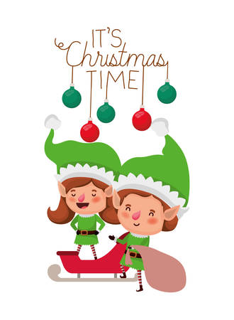 elves couple with sleigh avatar chatacter vector illustration design