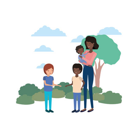 woman with children in landscape avatar vector illustration design