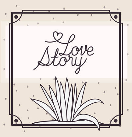 love story card with marine plants ecosystem scene vector illustration design Zdjęcie Seryjne - 122967353