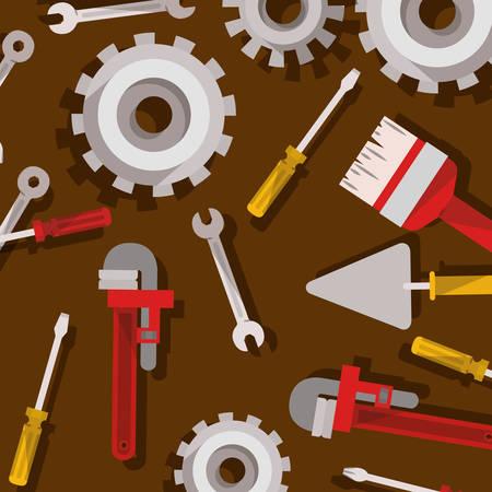 set of tools construction pattern vector illustration design