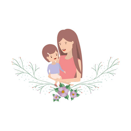 woman with baby avatar character vector illustration design Stock Illustratie
