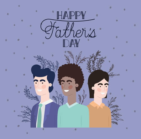 happy fathers day card with dads and leafs plant vector illustration design Stock Illustratie