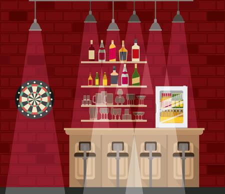 bar with bottles liquor scene vector illustration design