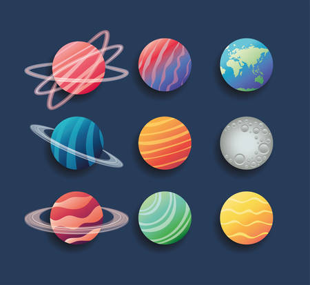 group of planets spacial icons vector illustration design