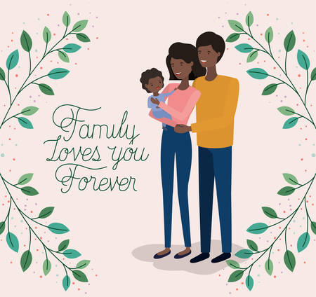 family day card with black parents and daughter leafs crown vector illustration design Banque d'images - 122928401