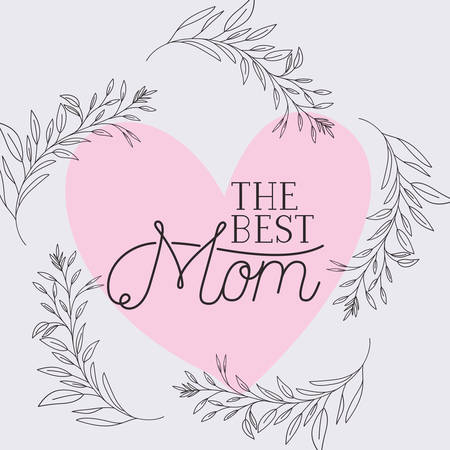 happy mothers day card with herbs heart frame vector illustration design