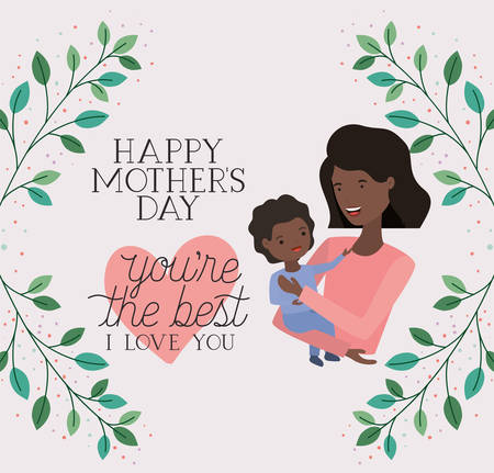 mothers day card with black mom lifting son vector illustration design