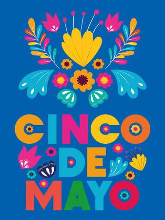 cinco de mayo card with floral decoration vector illustration design Illustration