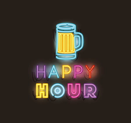 happy hour with beer jar fonts neon lights vector illustration design 矢量图像