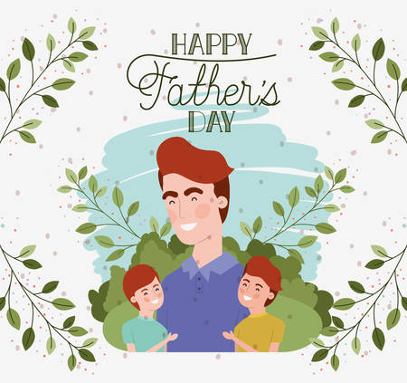 happy fathers day card with dad and sons characters vector illustration design