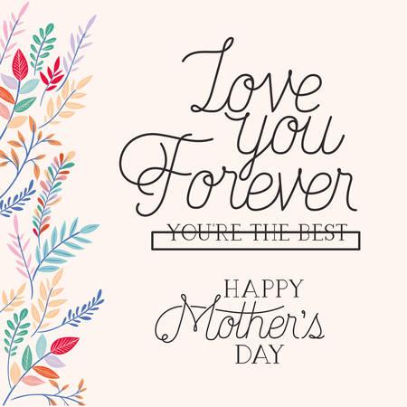 Carte de fête des mères heureuse avec des herbes vector illustration design frame Vecteurs