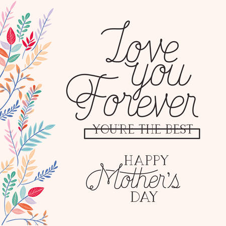 happy mothers day card with herbs frame vector illustration design Vector Illustratie