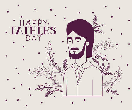 happy fathers day card with dad and leafs plant decoration vector illustration design