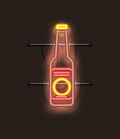 beer bottle neon light vector illustration design