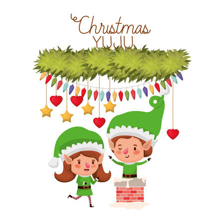 elves couple with fireplace and merry christmas avatar character vector illustration design