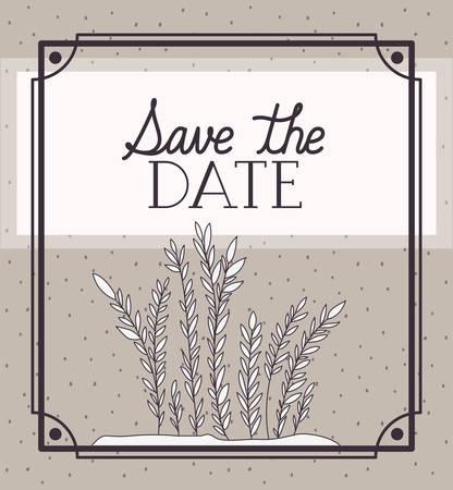 love card with algae marine plants scene vector illustration design