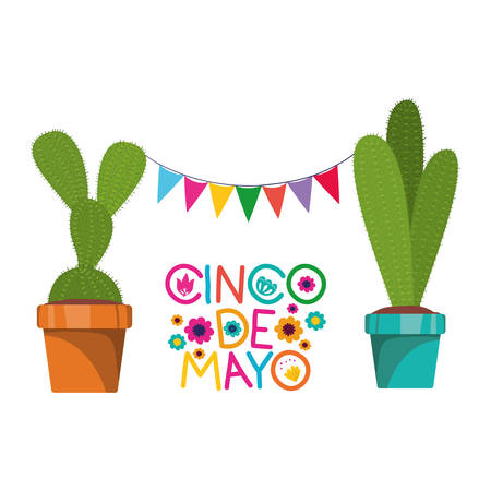 cinco de mayo label with cactus isolated icon vector illustration design Standard-Bild - 122928739