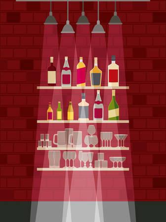 chelf bar with liquor bottles vector illustration design Ilustrace