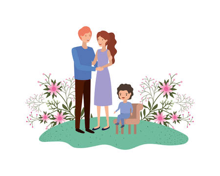 couple of parents with son sitting on chair vector illustration design
