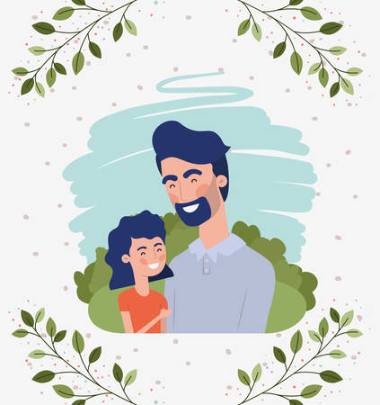 happy fathers day card with dad and daughter characters vector illustration design