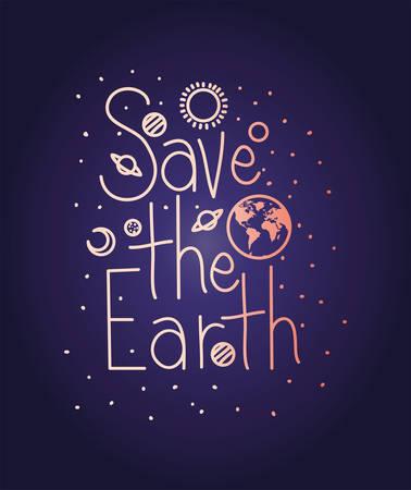 group of planets earth day celebration vector illustration design Stock Illustratie