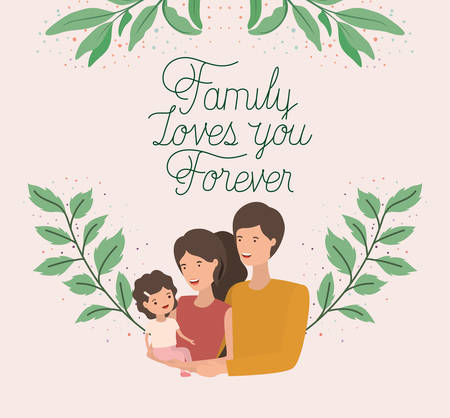family day card with parents and daughter leafs crown vector illustration design