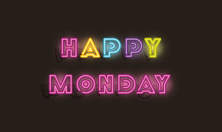 happy monday fonts neon lightsvector illustration design